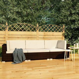 Lumarko 3-częściowa sofa do ogrodu, z poduszkami, polirattan, brązowa