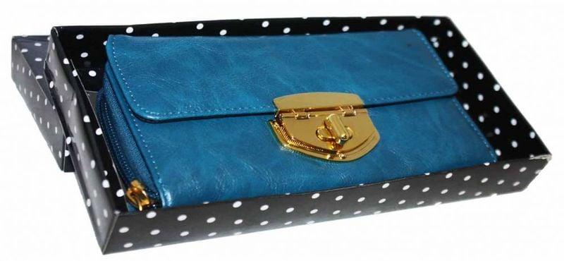 4a292468f64dc PS03 Elegancki Portfel Damski zdobiony na złoto. GRATIS Pudełko na Prezent!  Niebieski zdjęcie 1
