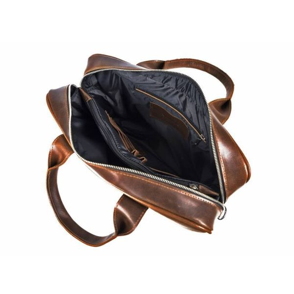 27c31f7e26069 Duża skórzana torba na laptop Brodrene jasny brąz z czarnym wnętrzem  zdjęcie 8