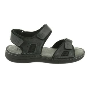 Komfortowe sandały skórzane czarne r.45