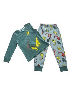 PEPCO Chłopieca, ciemnozielona piżama z dinozaurem