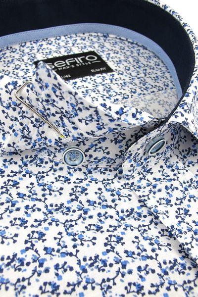 Duża Koszula Męska Sefiro biała w granatowe kwiatki na krótki rękaw Duże rozmiary K826 11XL 55 182/188 zdjęcie 4