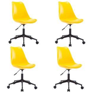 Obrotowe krzesła jadalniane, 4 szt., żółte, sztuczna skóra