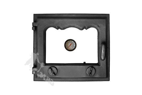 DRZWI D1 LEWE - 33X38 CM + TERMOMETR 0-500°C żeliwne do pieca piecowe kaflowe