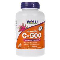 Now Foods Witamina C-500 (o smaku pomarańczy) - 100 pastylek