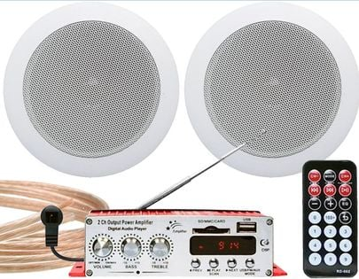 RADIO ŁAZIENKOWE MP3 FM PEŁNY ZESTAW SUFITOWY 13,5