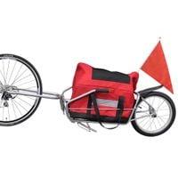 Solidna przyczepa do roweru, z torbą