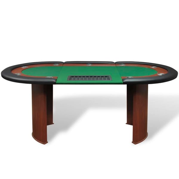 Stół do pokera dla 10 graczy z tacą na żetony, zielony zdjęcie 2