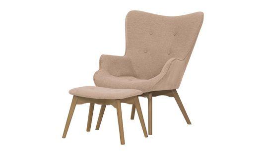 Fotel uszak z podnóżkiem Ducon Malmo-Malmo 61-jasny dąb