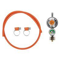 Zestaw do gazu reduktor z manometrem i zaworem + wąż 1,0m i opaski