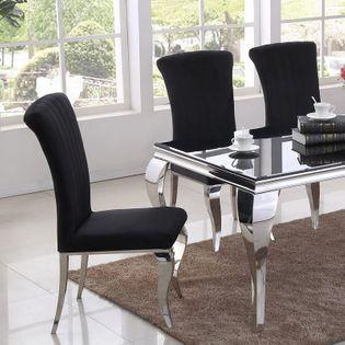 Krzesło glamour Stanley II Black - nowoczesne krzesło tapicerowane