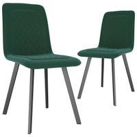 Krzesła stołowe, 2 szt., zielone, aksamit