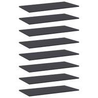 Lumarko Półki na książki, 8 szt., szare, 80x40x1,5 cm, płyta wiórowa