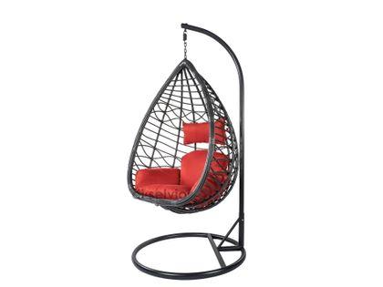 Fotel wiszący ze stojakiem czarno/czerwony Bozzollo