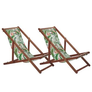 Zestaw 2 leżaków ogrodowych ciemne drewno akacjowe wzór we flamingi ANZIO