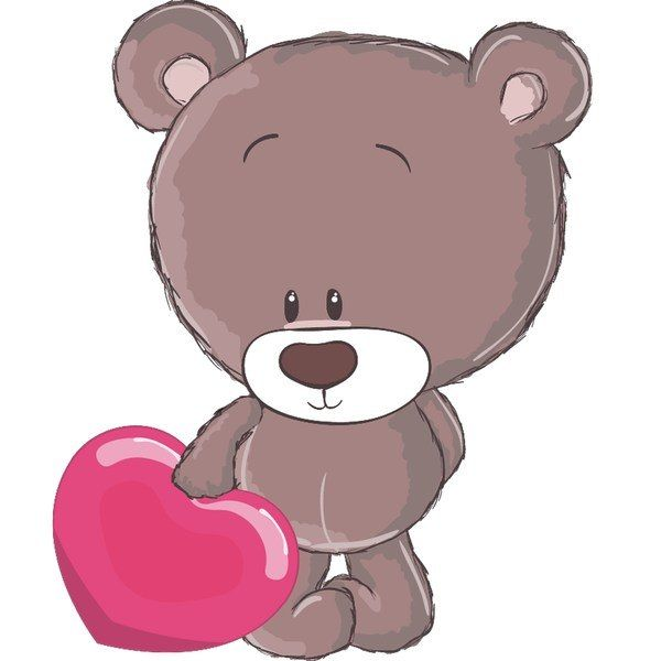 Brązowy miś z sercem 10 x 10 cm naklejka ścienna dziecka ???? Arena.pl