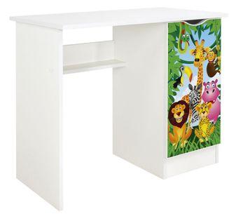 Białe biurko z szafką - dżungla