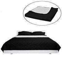 Dwustronna pikowana narzuta na łóżko Czarna/Biała 220 x 240 cm
