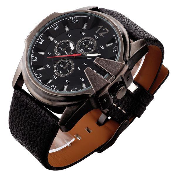 Nietypowy Okaz Zegarek męski V6, duży, skórzany pasek, kolor czarno-czarny - NOWY XW51
