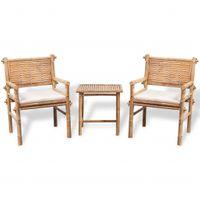 VidaXL 3-cz. zestaw mebli bistro z poduszkami, bambus