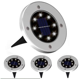 OGRODOWE LAMPKI SOLARNE GRUNTOWE ŚWIECĄCY DYSK x4