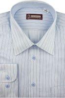 Koszula Męska Konsul błękitna w paski na długi rękaw w kroju REGULAR A199 M 39 176/182