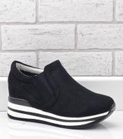 Czarne sneakersy na koturnie ażurowe RQ259 39