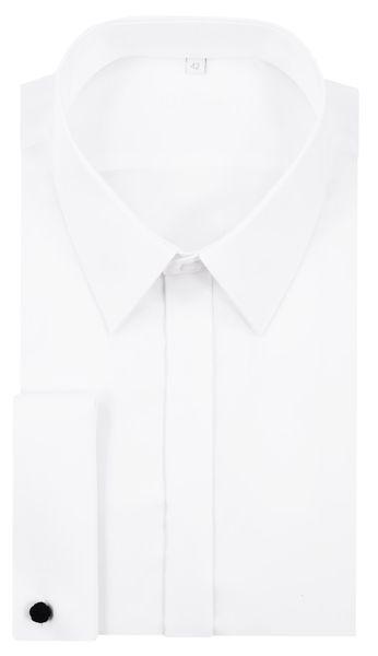 02c10d40ea06 Biała koszula z krytą plisą na spinkę 100% bawełny K26 Rozmiar koszuli i  fason -