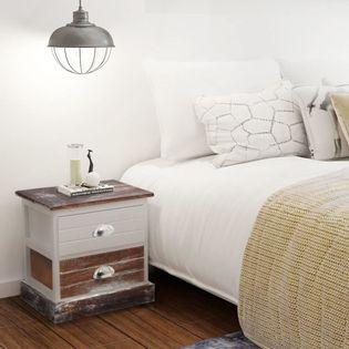 Szafki nocne 2 szt., drewniane, brązowo- białe
