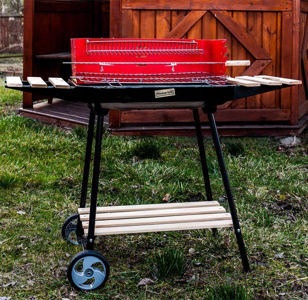 Grill ogrodowy węglowy z półkami i rożnem D98 zdjęcie 9