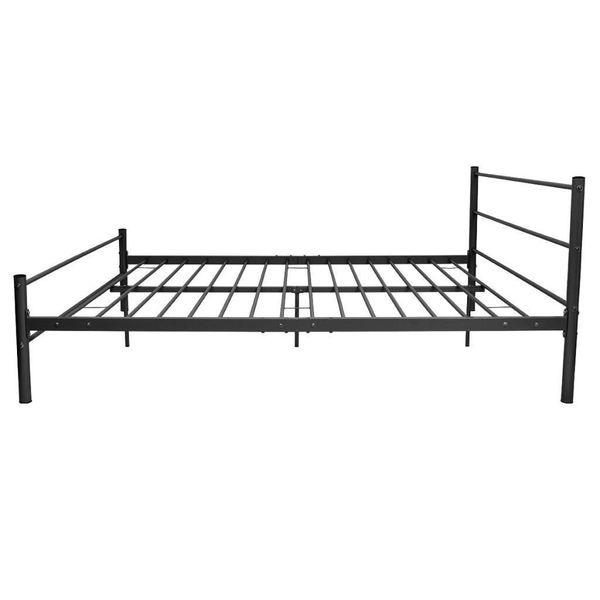 łóżko Rama łóżka Podwójne Z Materacem 180x200cm Czarne