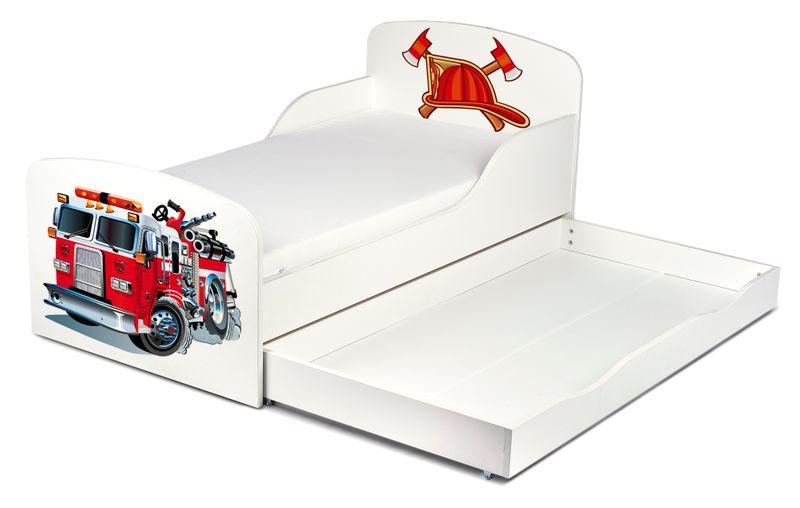Łóżko dla dzieci 140x70 z materacem i szufladą Strażak 102/248001S zdjęcie 3