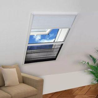 Plisowana moskitiera okienna z roletą, aluminium, 80x120 cm