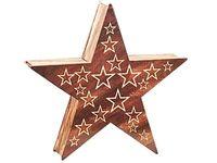 Ozdoba drewniana gwiazda LED 1C 35cm