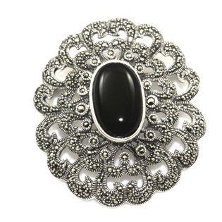 Ekskluzywna broszka srebrna onyks i markazyty