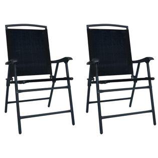Lumarko Składane krzesła ogrodowe, 2 szt., tworzywo textilene, czarne