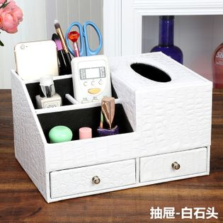 Skórzany  Organizer Kosmetyczny - Na Biżuterię Z Szufladami white stone M
