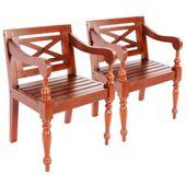 Krzesła Batavia, 2 Szt., Lite Drewno Mahoniowe, Ciemnobrązowe