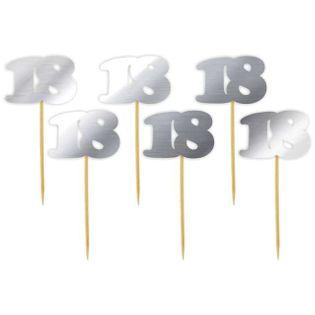 "Pikery ""18 Urodziny Classic"", srebrne metalik, 6 szt"