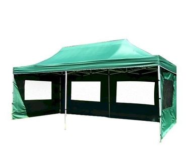 Namiot ogrodowy 3x6 m automatyczny, zielony pawilon handlowy ze ściankami