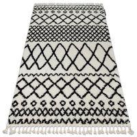 Dywan BERBER SAFI N9040 biały / czarny Frędzle berberyjski marokański shaggy 180x270 cm biały