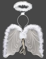 Zestaw Aniołek II (aureolka i skrzydła z marabu)
