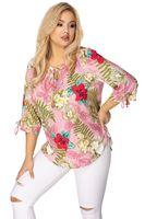 Wzorzysta bluzka z ozdobnym wiązniem przy szyi i przy mankietach - Różowy 54