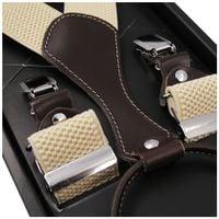 Beżowe szelki do spodni z brązowymi skórkami SZ55 Długość szelek przed rozciągnięciem - 130cm - rozmiar XXL - dla dużych lub wysokich mężczyzn.