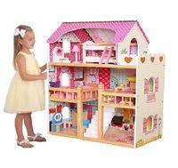 duży 3 piętrowy drewniany domek dla lalek barbie światło Led