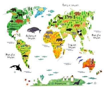 Naklejki na ścianę ścienne Mapa Świata dla dzieci WS-0180