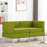 Moduły sofy narożnej z poduszkami, 2 szt., tkanina, zielone