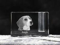 Beagle - kryształowy stojak na długopis z wizerunkiem psa, pamiątka, dekoracja, kolekcja.