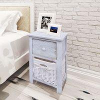 Szafka nocna w stylu Shabby Chic, drewniana, biała