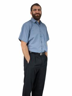 52/53 - 8XL Popielata duża bawełniana koszula męska